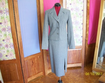 Retro 1950's style jacket and skirt suit blue brown flecked