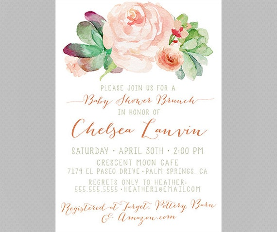 baby shower brunch invitation mint and pink succulents roses 129b