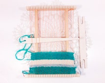 "11x8"" Weaving loom kit for beginners, hand weaving loom, tabletop small weaving loom, Frame loom weaving set"