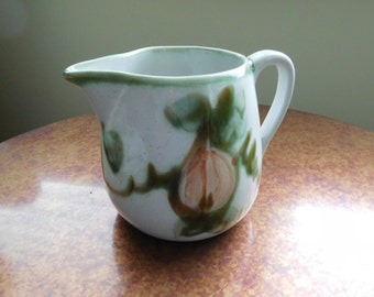 John B. Taylor Pitcher.  Pear pattern.  Harvest.  Vintage.  Farmhouse and country cottage decor. Louisville Stoneware.
