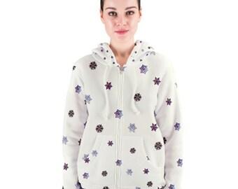 Nebula Snowflake Women's Zipper Hoodie