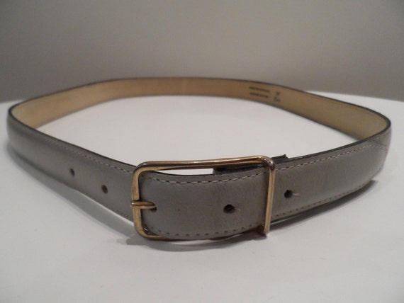 "Men's pale grey leather belt, gold tone buckle - 34"" / 85cm - vintage made in Australia"