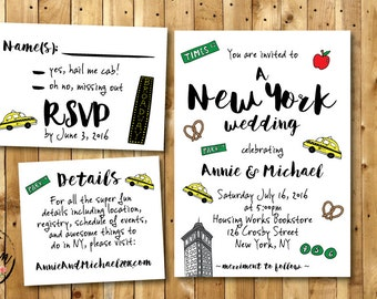 Fun NYC PRINTABLE Wedding Invitation Suite // New York Wedding Invitation RSVP  // Funny Wedding Invite Suite// Unique Wedding Invite