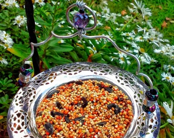 Recycled, Repurposed, Upcycled, Vintage Dish, Garden Art, Bird Feeder