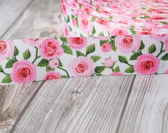 "1"" retro ribbon - Flower ribbon - Pink roses - Vintage look ribbon - 3 or 5 yard lot - Grosgrain ribbon - DIY hair bows - Floral print"