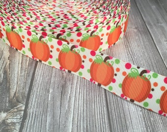 "Pumpkin ribbon - Fall ribbon - Thanksgiving ribbon - Halloween ribbon - 7/8"" Grosgrain ribbon - Polka dot ribbon - Orange ribbon"