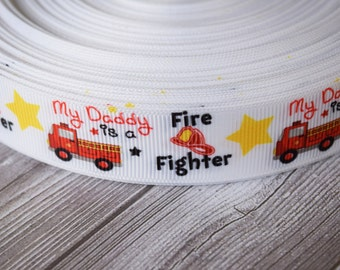 "Fire fighter ribbon - My daddy is a fire fighter - 7/8"" grosgrain ribbon - 3-5 yards - Fire truck ribbon - Fire helmet - Red and yellow"
