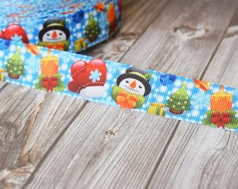 "Frosty the snowman - Snowman ribbon - 7/8"" ribbon - Christmas ribbon - Christmas tree ribbon - Present ribbon - Christmas mittens - Yardage"