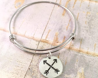 Arrow bangle bracelet, Adjustable bangle bracelet, Follow your own arrow bracelet, Arrows of Friendship, gift for her