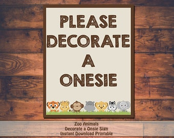 Printable Zoo Animal Baby Shower Decorate A Onsie Sign