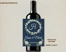 Wedding Wine Label, Wine Label, Celebration Wine Label, Rustic Wedding Wine Label, Daisy Wine Label, Daisies, Wine Label, Wedding, Blue