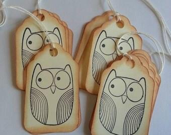 Owl gift tags, Owl tags, Favor tags, Gift tags, Owl hang tags, Set of 15