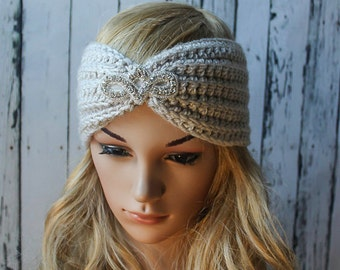 Applique Crocheted Headband - LINEN