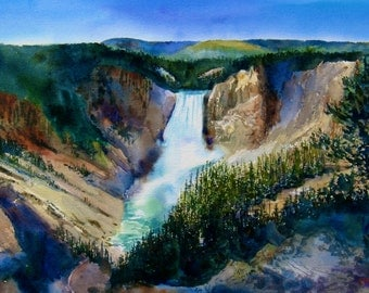 Yellowstone watercolor landscape Print, Grand Canyon of the Yellowstone Print , Yellowstone waterfall, 12 x 19 inch print, Wyoming