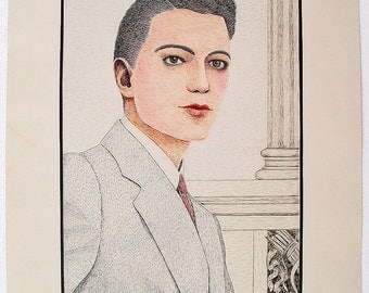 Vintage 1937 Outsider Art Pen & Ink Portrait Of A Dandy Signed Murdoch