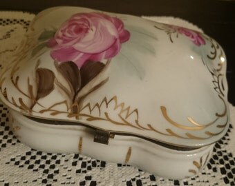 Large White Porcelain Jewelry Box with Pink Roses