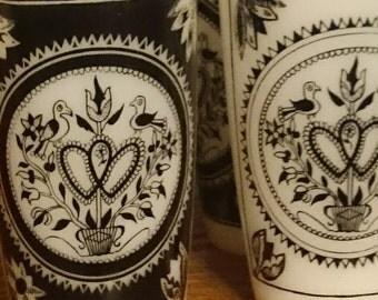 Set of 4 Rare Hazel Atlas Black and White Milk Glass Tumblers in the Lovesbirds Design