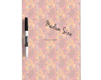 Dry Erase Board w/ Marker, Groovy Flowers, 3 Sizes Available!