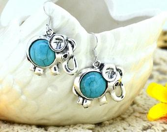 Elephant Turquoise Earrings