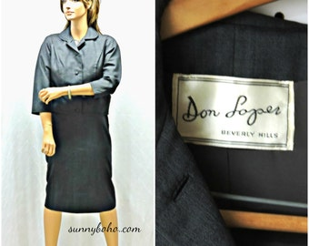 Vintage 50s Don Loper Beverly Hills skirt suit XS S 1950s couture grey pencil skirt dress suit designer 50s dress suit SunnyBohoVintage