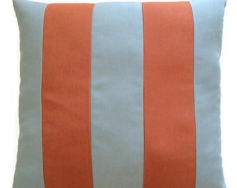 Rust Orange Spa Blue Stripe Indoor Outdoor Sunbrella Canvas Summer Throw Pillow Cushion Cover Decorative Coastal Decor 20X20