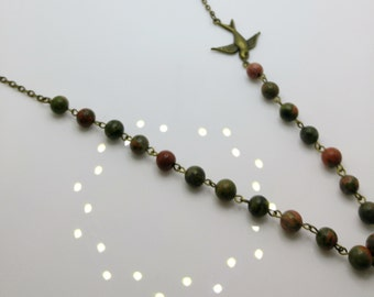 Unakite, Bird & Chain Necklace
