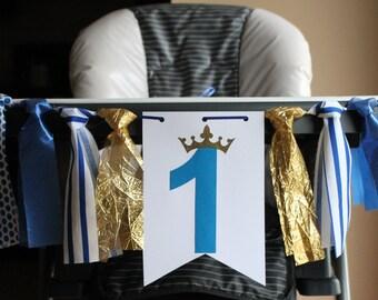 Prince Highchair Birthday Banner, High Chair Banner, One Birthday Banner, One High Chair Banner, Prince Birthday Party, Royal Prince Banner