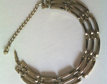 Vintage Art Deco,Geometric Curved Link Choker Necklace
