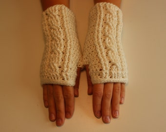 Cabled Bamboo Silk Fingerless Gloves
