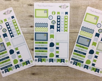 Navy, Lime Green and Slate 3 Half Page Vertical Life Planner Stickers 8019H, 8020H, 8021H