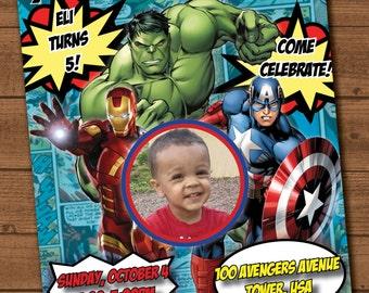 Avengers birthday invitation file with photo
