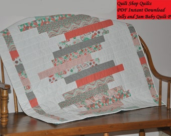 Jelly and Jam Baby Quilt Pattern Modern Quilt Pattern Jelly Roll Beginner pattern Fast and Easy quilt PDF Download Instant download QTM