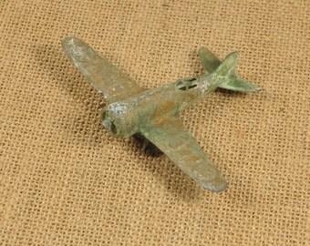 Vintage US Army Toy Plane-Diecast Plane-Army Plane Toy-Metal Toy-Vintage Toys