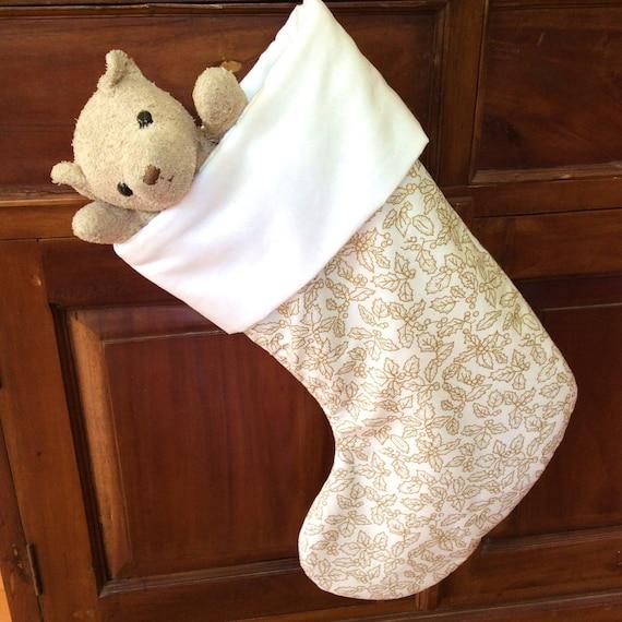 Elegant Ivory White & Gold Christmas Stocking, Quality Padded and Lined, 55cm Long
