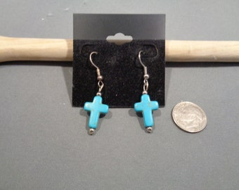 Turquoise or White Cross Earrings