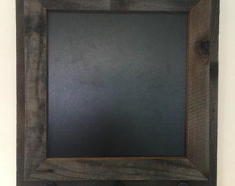 Reclaimed wood chalkboard with key hooks