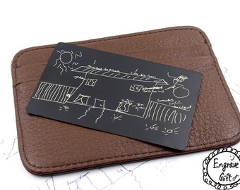 Handwriting Wallet Insert - Engraved Kids Drawing Keepsake - Signature Jewelry - Submit Your Own Handwritten Pictures and Text