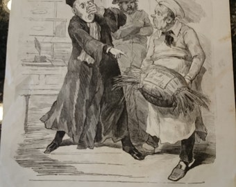 Antique French Cartoon Political Print/Satire/Trait de Probite du Citoyen Baroche/Engraving