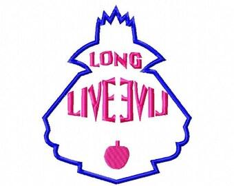 Descendants, Disney inspired Evie's Long Live Evil Symbol. Applique Embroidery Design, 4x4, 5x7, 6x10 Hoop, Instant Download