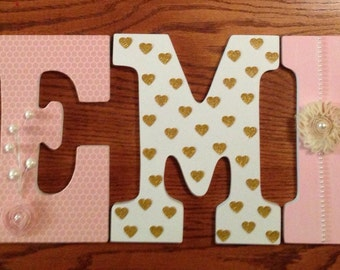 Letters for nursery, Pink and gold nursery decor, Heart letters, Girl's room letters