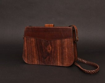 Wood and leather Clutch Nostalgi. Only natural wood and leather bag!