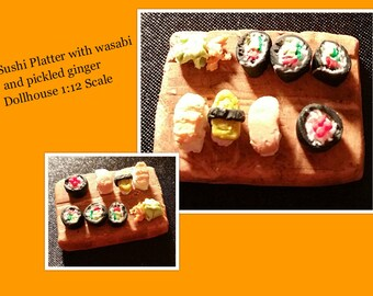 Dollhouse miniature 1:12 Scale Sushi platter on a wooden board