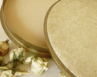 Antique round fabric-covered box from France...CHARMANT!
