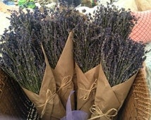 Dried English Lavender Bouquets wrapped in Brown Paper & Twine