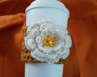 Crochet Cozy with Beaded Flower