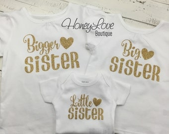 SISTER Sibling shirts Matching Sis Little Middle Twin Big Sister gold glitter bodysuits shirt newborn infant toddler little baby girl