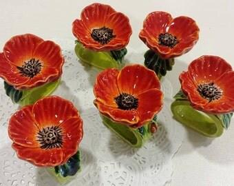 Ceramic poppies,ceramic rings for napkins, Napkin rings, ceramic napkin rings, hand made, ceramic glazes ceramic decoration