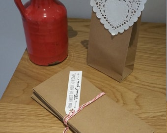 Paper Favour Bags or Candy Bags  Pk20 - Kraft Brown