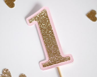 1st Birthday Number ONE Cake Cupcake Topper Pink and Gold Glitter