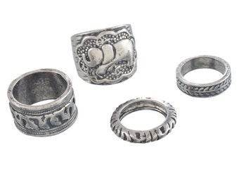 Silver Elephant Anel Totem Leaf  Rings